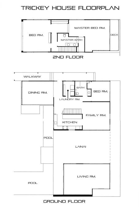 Floor plans; The 4th bedroom is labeled Living Room on this plan