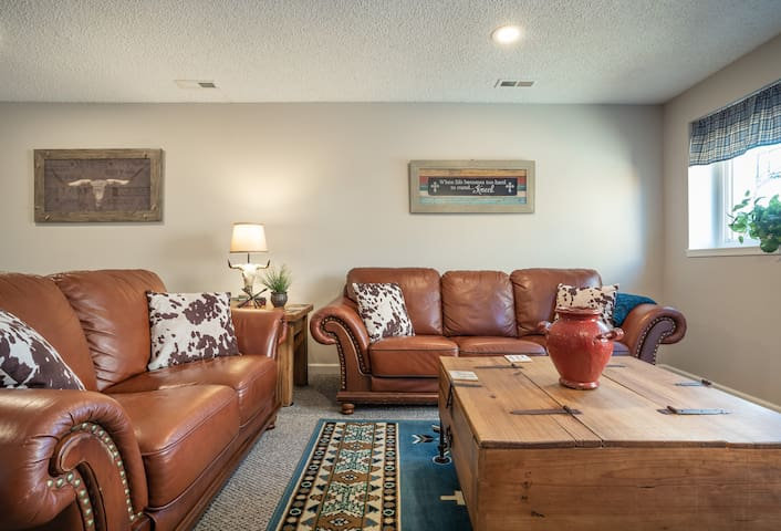 Our cozy living room is a great place to crash after a long day of sightseeing!