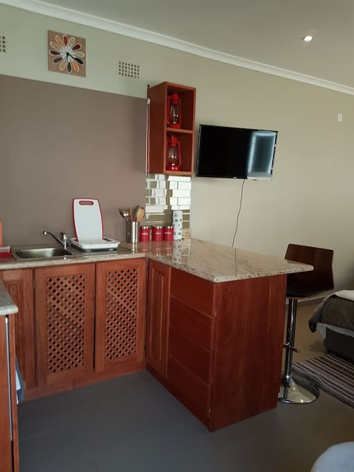 self catering, fully equipped kitchen, tv with dstv connection, free Wi-Fi