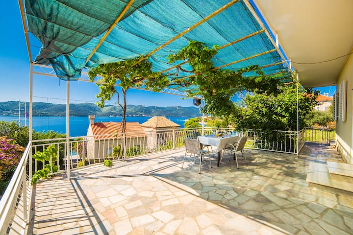 Terrace overlooking the sea and the island of Korcula.