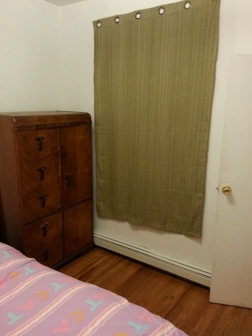 Curtain and Wooden wardrobe