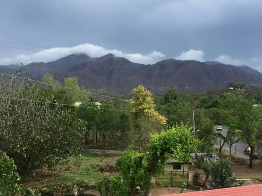 View from our house of Naina Devi Temple on hills.