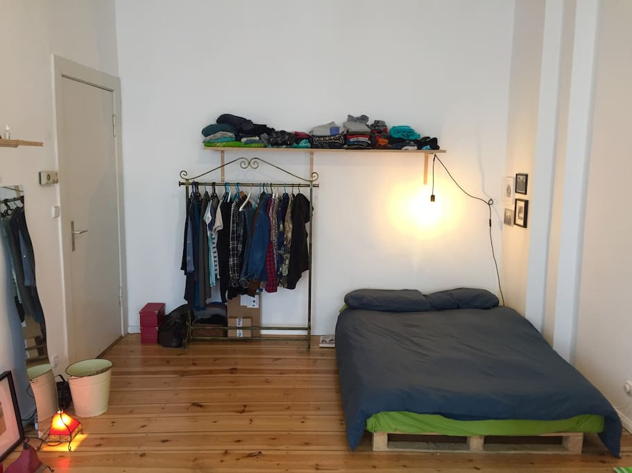 Large comfy bed, clothes rack & shelve (will be empty for you to use)