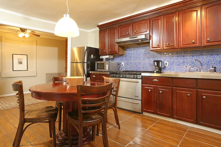 Spacious open concept living and kitchen area.