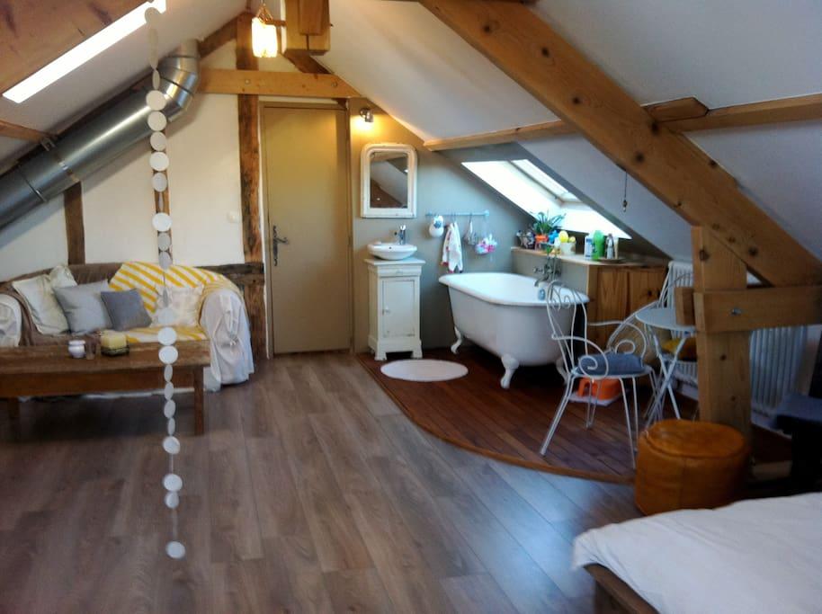 la suite parentale (coin salon et salle de bain)