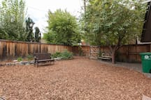 Pleasant landscaping in backyard.