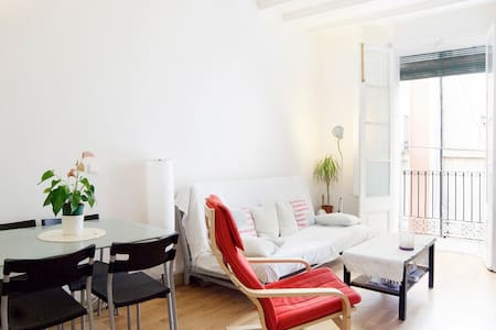 Pretty loft (45m) in the center of Barcelona. Very good light. Good geographical situation, only 1min walking to go to the MACBA, 15 min to go to the beach. One bed (queen size) and an additional bed. Equipped kitchen.