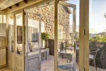 Bi-fold doors open up the space
