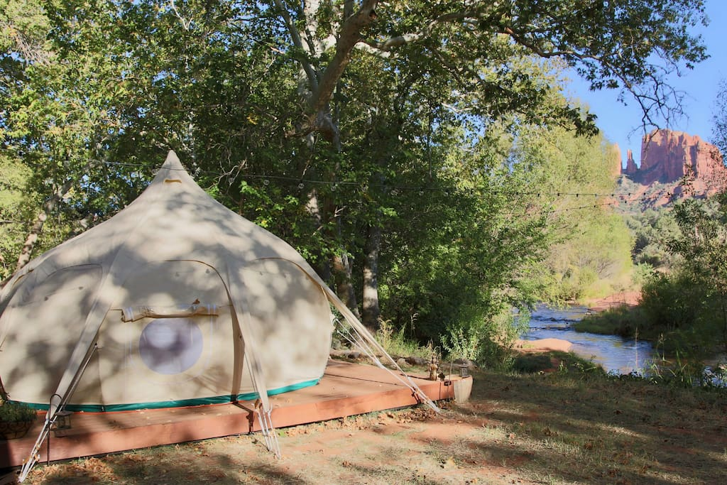 Yes - this is real. The ultimate Glamping experience. A fabulous Lotus Belle right on the creek at the base of Cathedral Rock, an area known as Red Rock Crossing, one of the most sacred spots in Sedona.