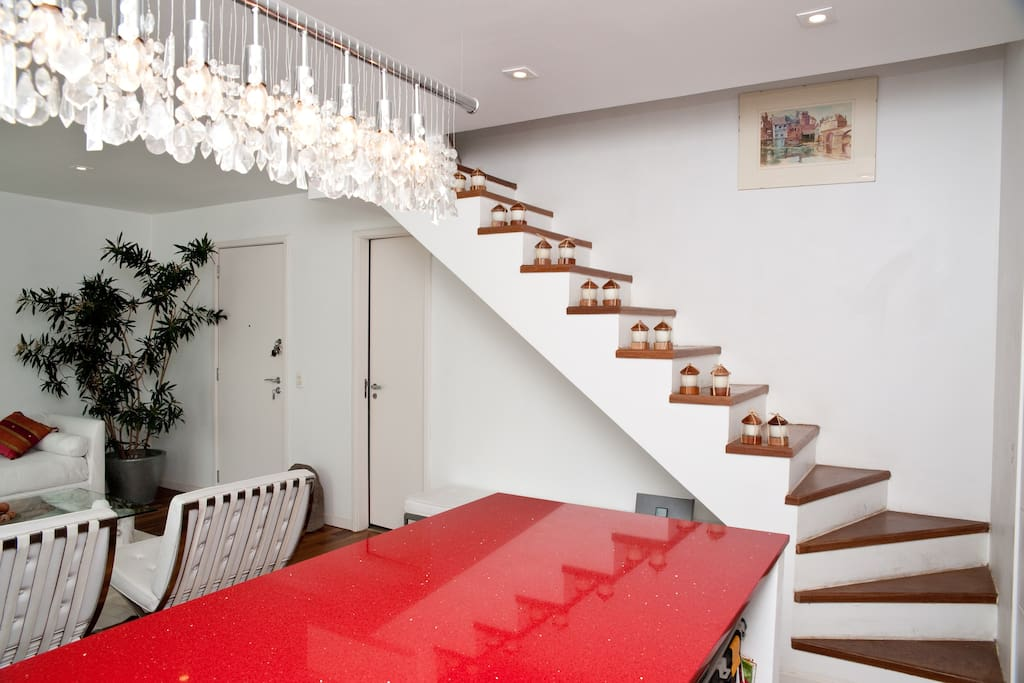 first  floor  dining room , stairs  to the second  floor  bedroom