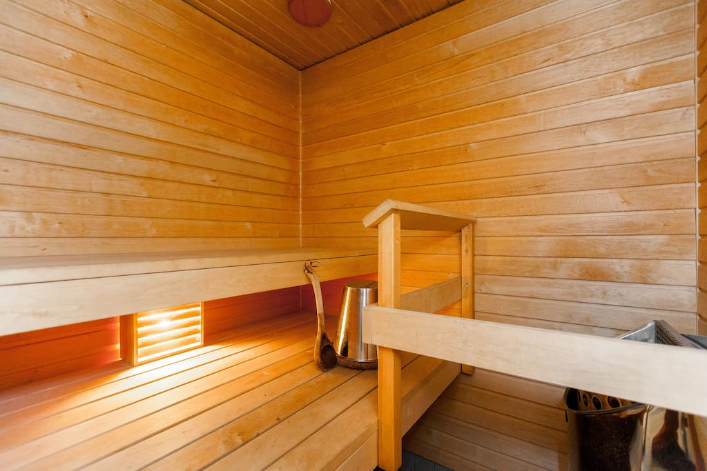 Put water on the hot stones - you have private sauna in the apartment!