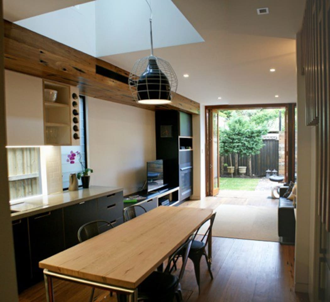 open plan kitchen, dining, living through to private garden