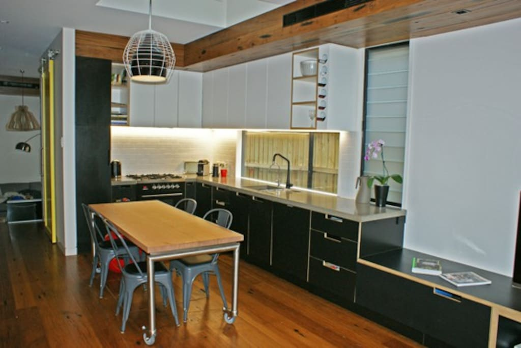 industrial kitchen with designer appliances