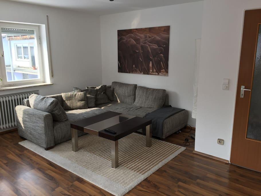 geräumiges Wohnzimmer mit TV