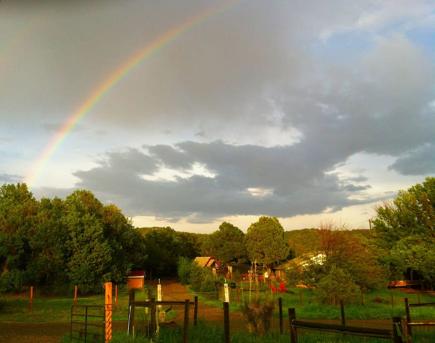 Late afternoon rainbows during the monsoon season (July-August-September) in Cedar Crest.