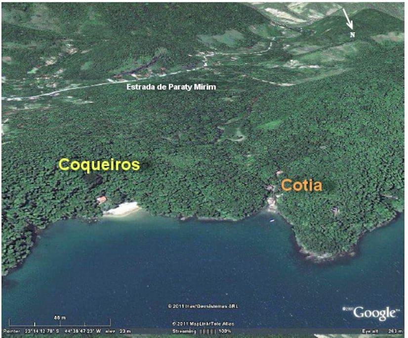 Mapa de Localização - duas casas proximas, acesso a pé pela estrada de Paraty Mirim
