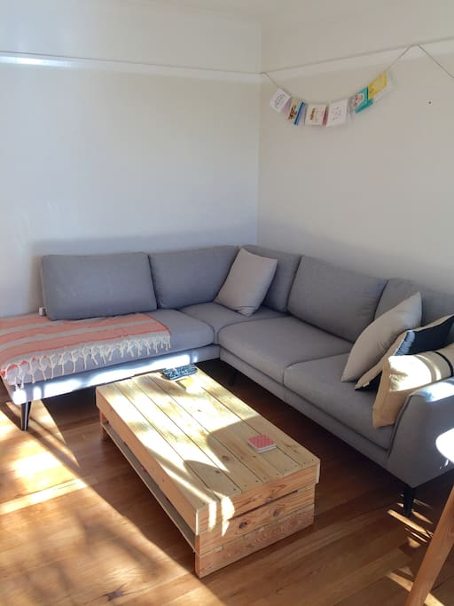 Living room with comfy chaise sofa