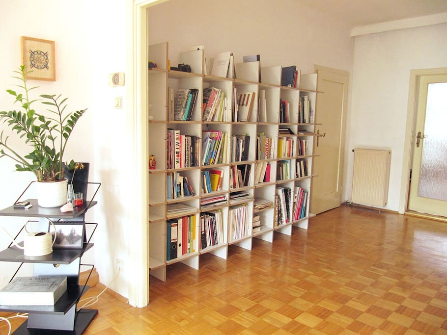 Part of the living room, with a collection of books.