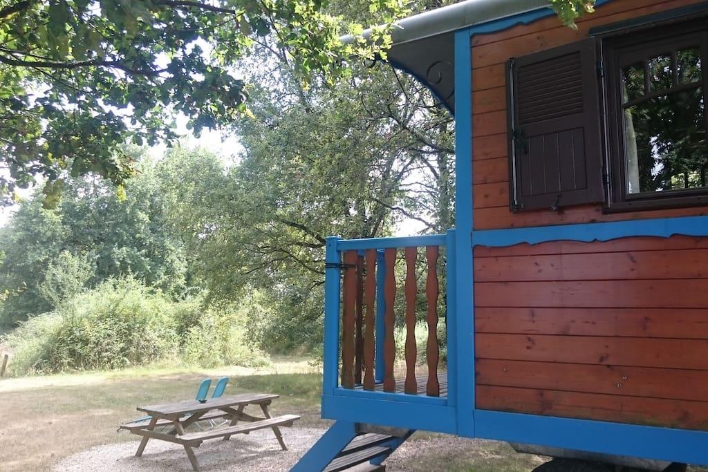 Roulotte Bleuet vue sur la forêt