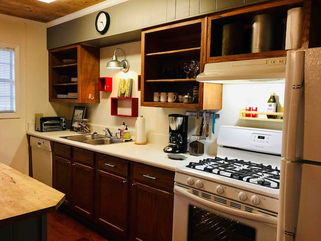All the kitchen basics are here including toaster oven, coffee pot, pots pans and bakeware so you can prepare a meal before your adventures in Lafayette begin.