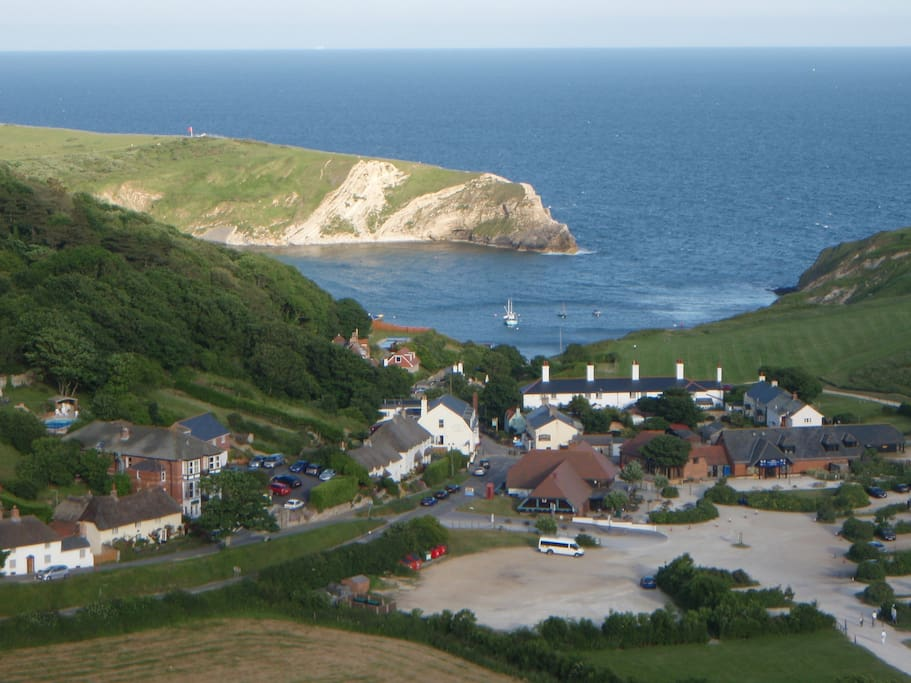 Rose Cottage on the left with Lulworth Cove behind.