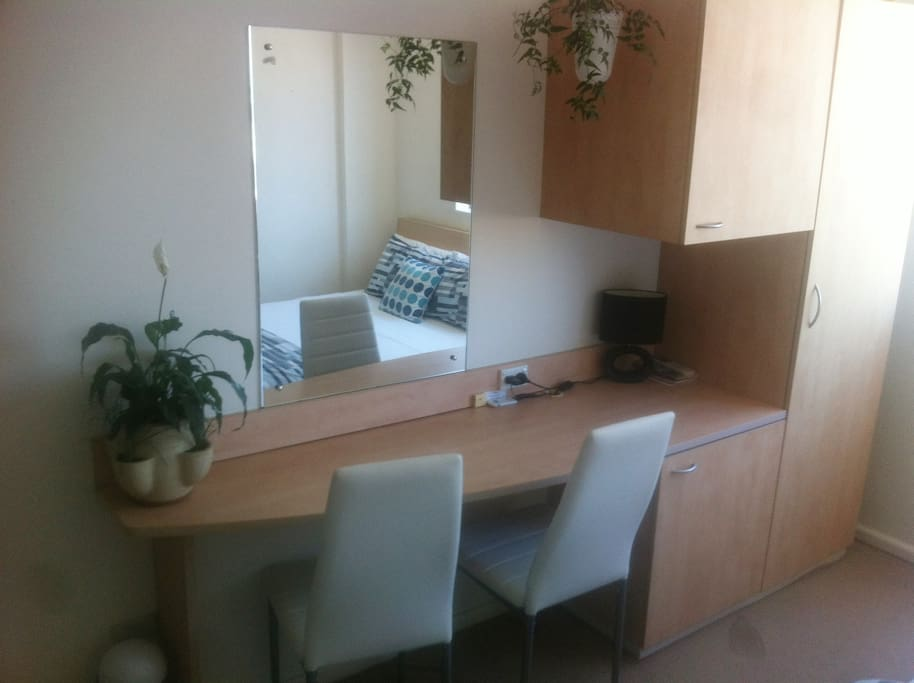 Desk and storage cupboards