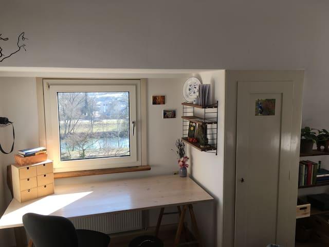 Zentrales Zimmer direkt am Neckar mit Garten