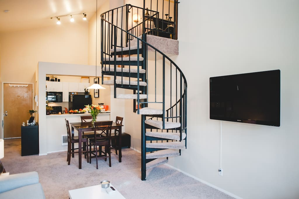 Spiral staircase to your private loft area.