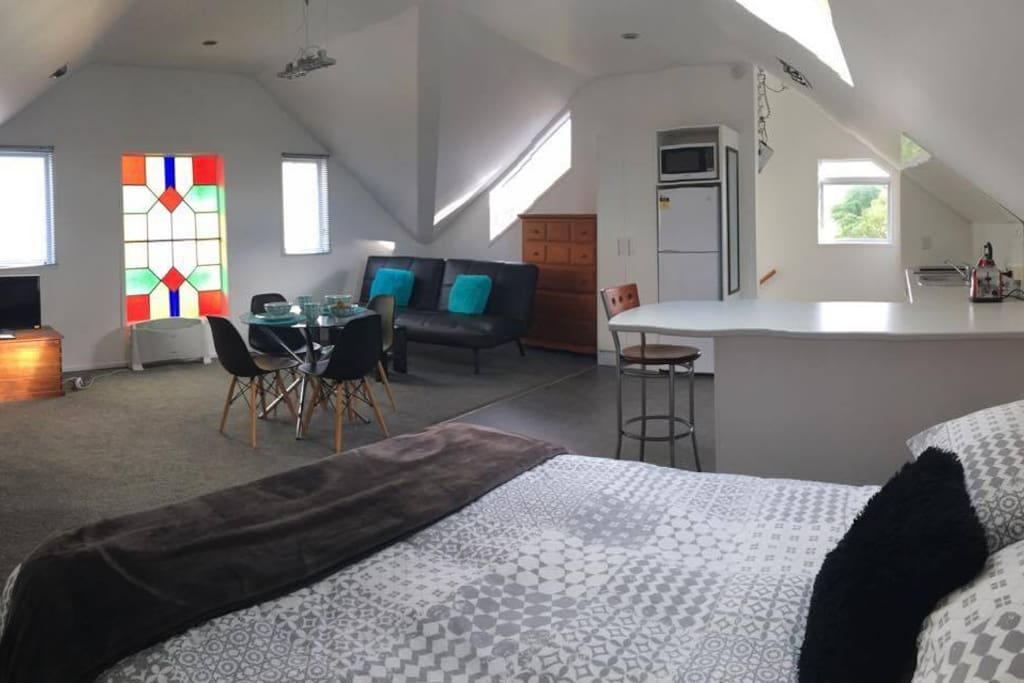 Studio is one room with queen bed and double sofa bed
