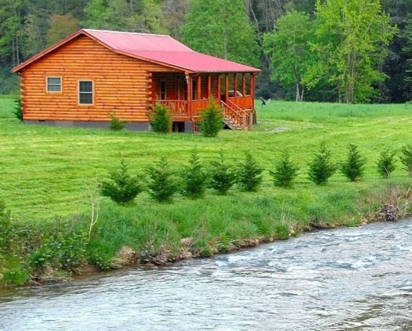 new riverfront luxury log cabin cabins for rent in