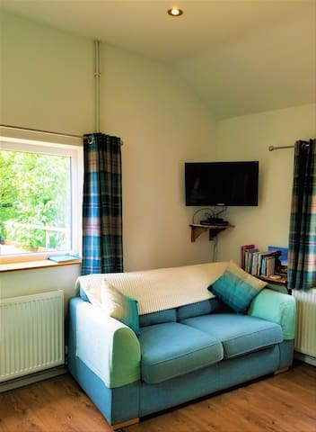 Sofa, TV, Satellite, DVD player.   Sofa is lightweight and there is ample room to spin it round for an evening's viewing.