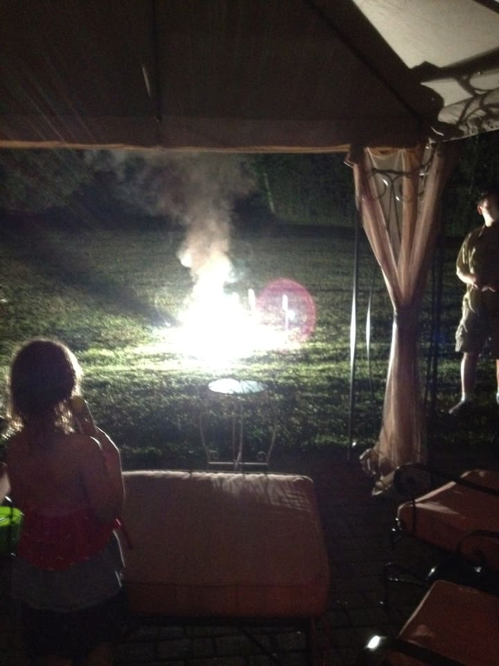fireworks in the back yard.