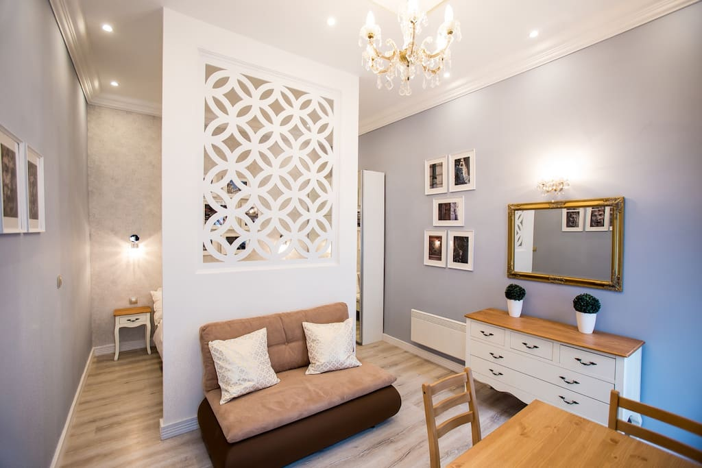 living romm/bedroom devided by a decor wall