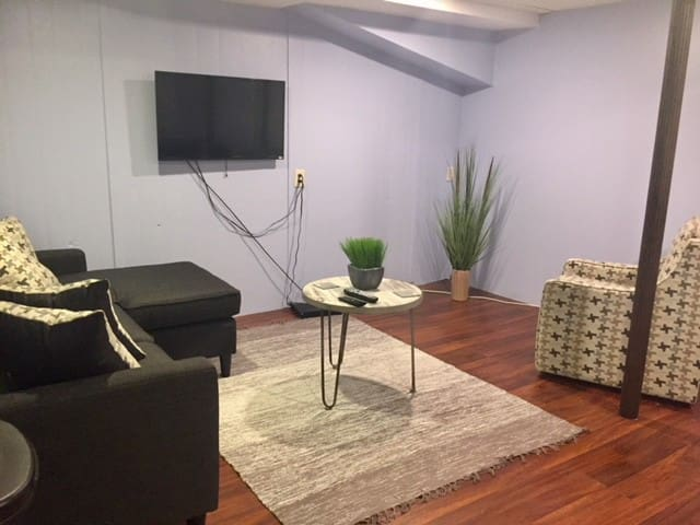 Private living room area. Part of studio, bedroom connected. Cable and WiFi included.