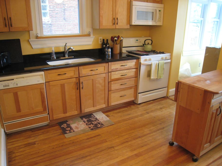 Kitchen has center island for entertaining or preparations.