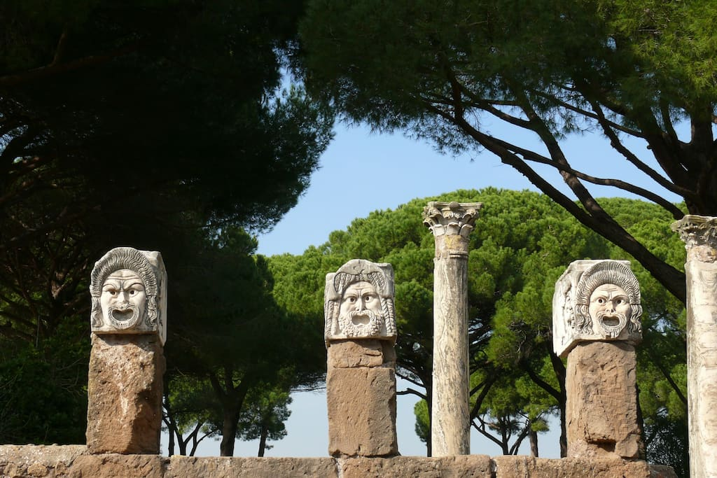 Drama sculptures at Ostia Antica's amphitheatre. Two stop away on the local train