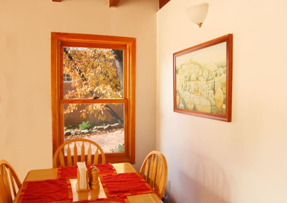 Fall leaves outside the dining room window