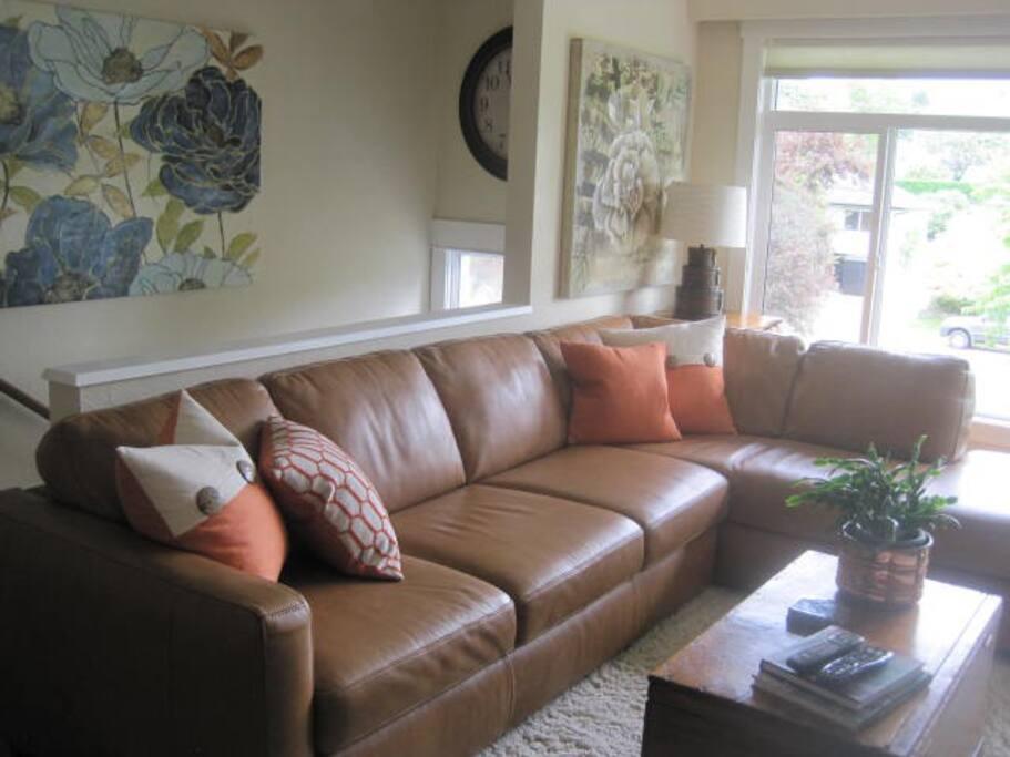 Large Comfortable Leather Sofa