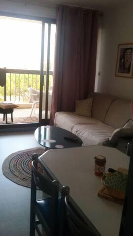 Coquet T2 à Barcarès,terrasse avec magnifique vue