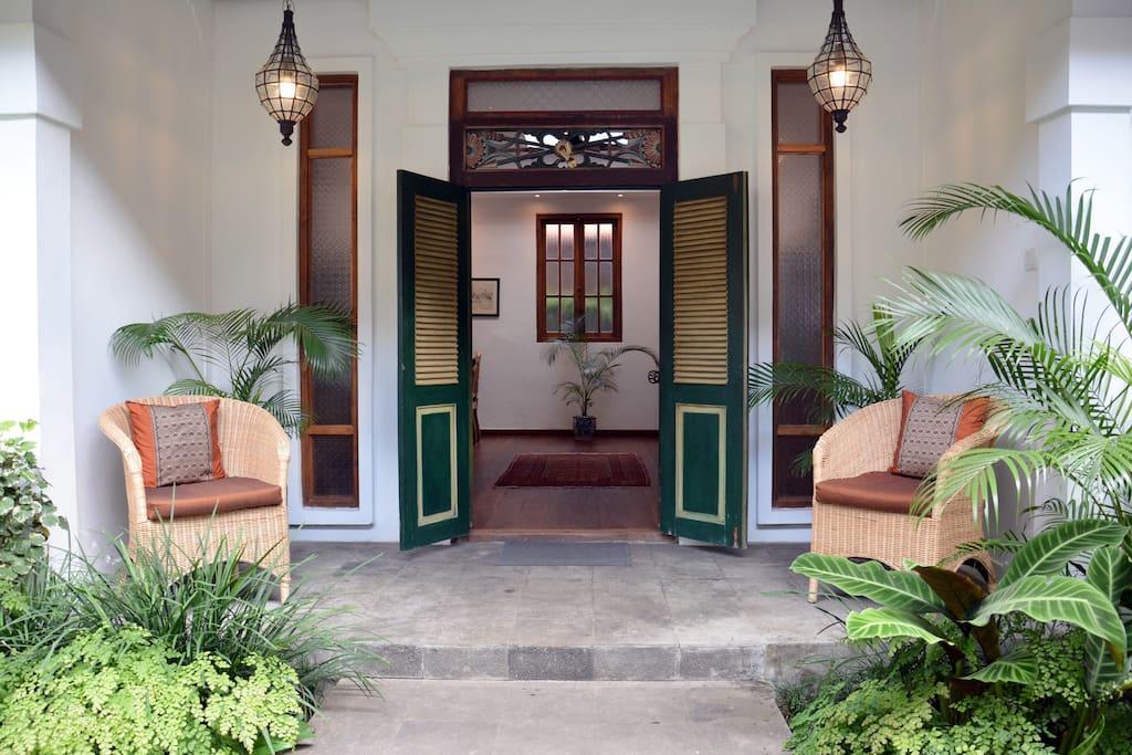 The door to the bedrooms