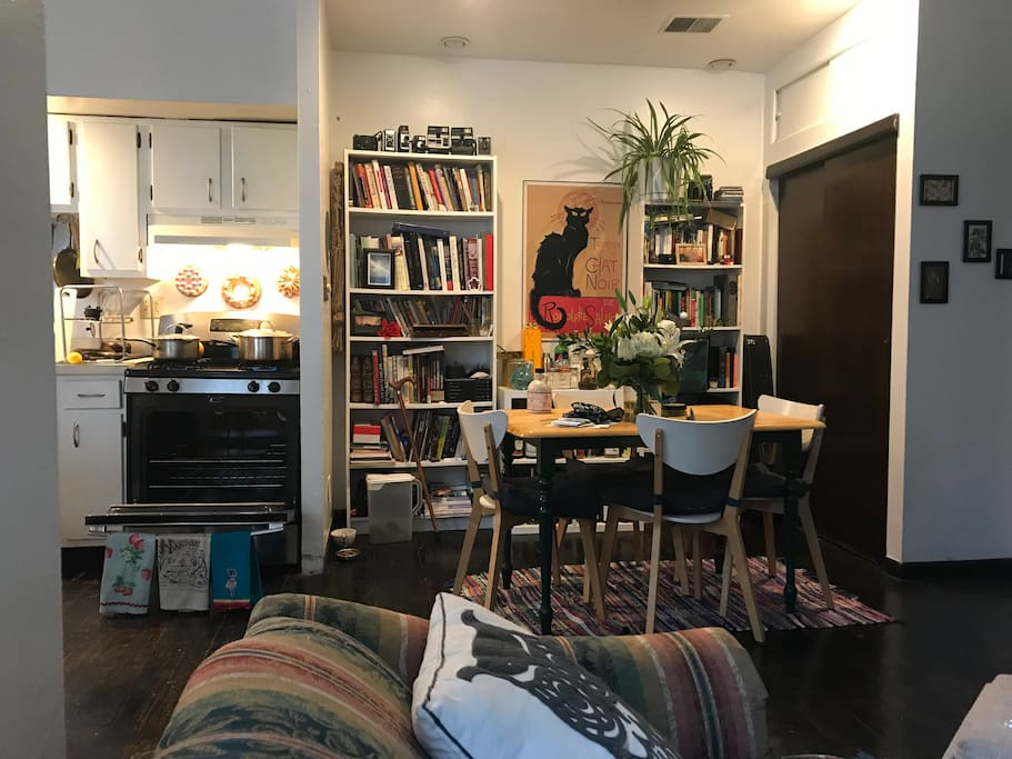Dining, vinyl, and book area.