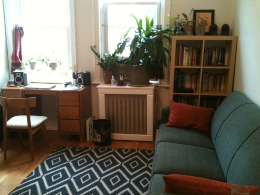 Living room and workspace. Great environment for reading and writing.
