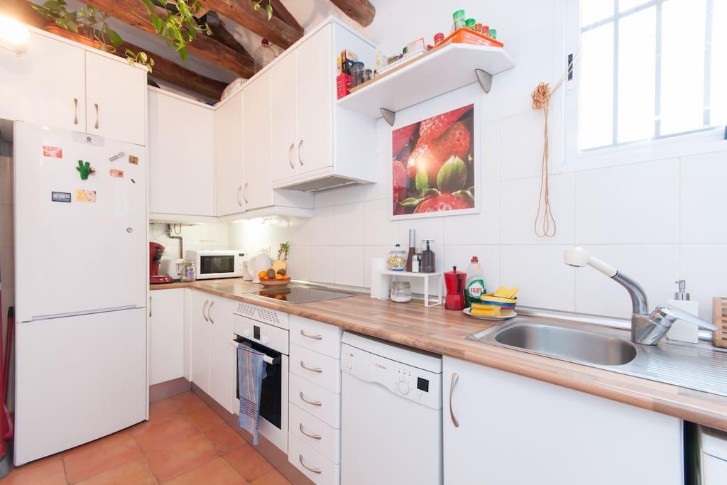 Fully equipped kitchen, Oven, Dish washer, washing machine, fridge... Cocina totalmente equipada.