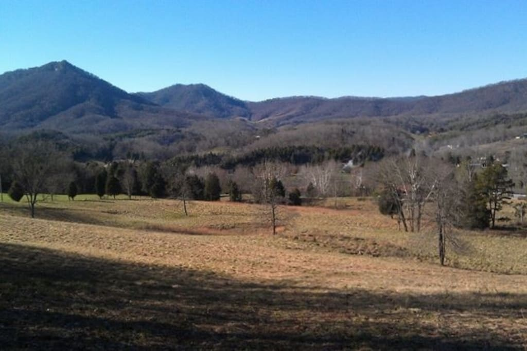 View of Devil's Nose mountain from the top of the farm