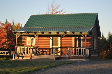 2. Modern log cabin with pond view, sleeps  6.