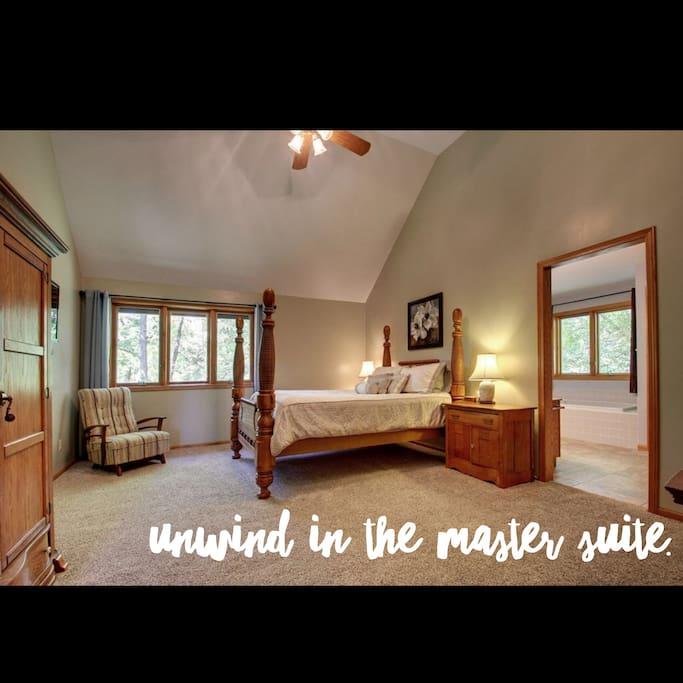 Take a peek at the master suite featuring a Queen bed, jacuzzi tub, and shower. Open the windows for full views of the surrounding woods and pasture.
