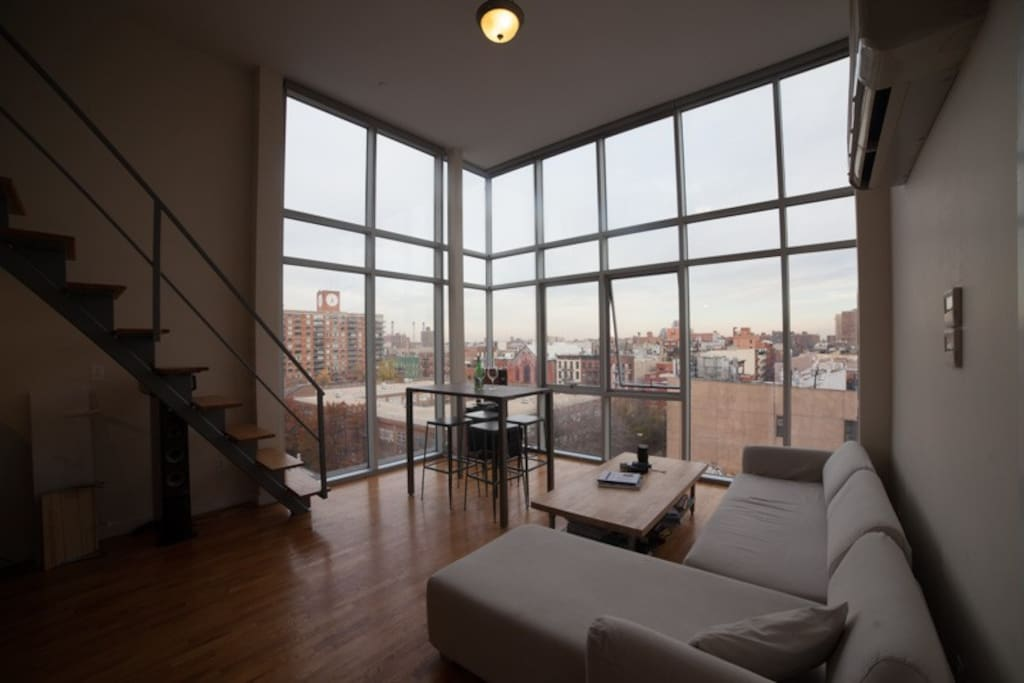 Incredibly rare and spacious penthouse apartment in the Lower East Side - 16 foot windows to view the skyline.