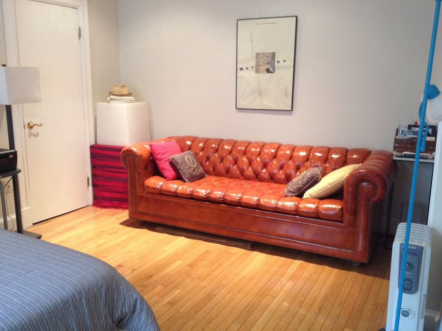 Pull out chesterfield sofa bed, queen sized.