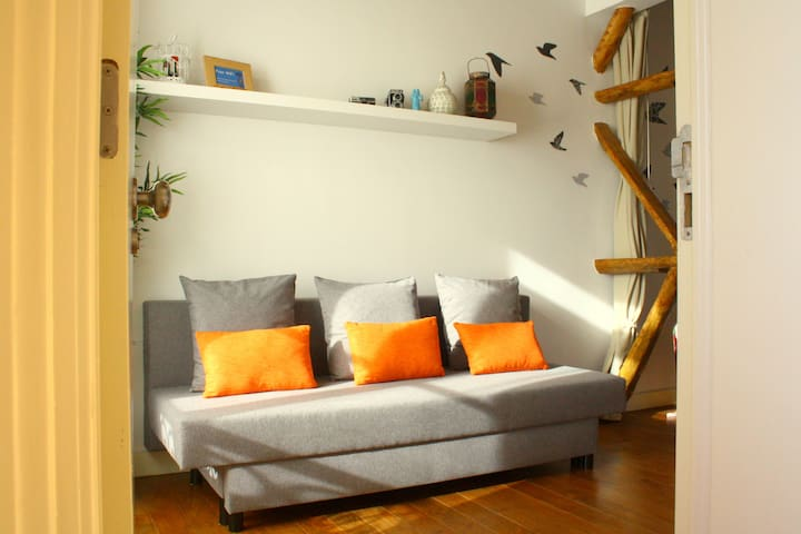 Studio entrance with sofa bed