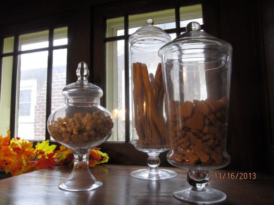 My home is dog-friendly, complete with a dog-treat bar for your furry companion's enjoyment.